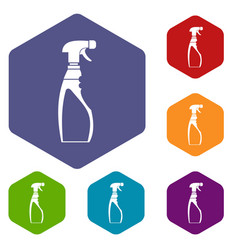 Sprayer bottle icons set vector