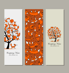 Banners design foxy tree vector