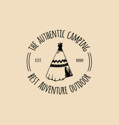 Tribal camp logo tourist sign with hand vector