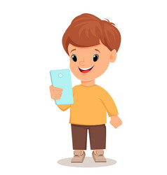 Little boy with smartphone cute cartoon character vector
