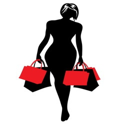 Woman silhouette shopping vector