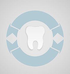 Dental emblem with blue corcle vector