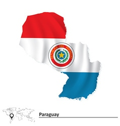 Map of paraguay with flag vector