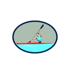 Kayak racing canoe sprint oval retro vector