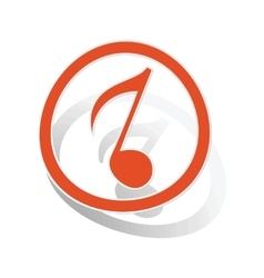 Music sign sticker 3 orange vector