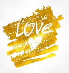 Inscription love on the golden background vector