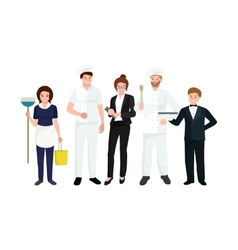 Restaurant team man cooking chef manager waiter vector