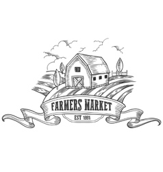 Farmers market badge monochrome medieval farm vector