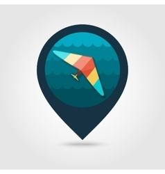 Hang glider pin map icon summer vacation vector