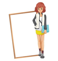 A lady holding a book standing in front of an vector image