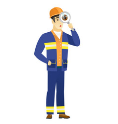 Asian builder with magnifying glass vector