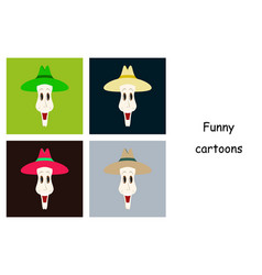 assembly of flat icons on theme funny clowns in vector image