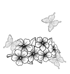 Background with a border of flowering tree vector