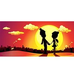 Banner winter in love on sunset vector