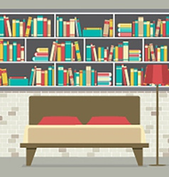 Bookcase in the bedroom flat design vector