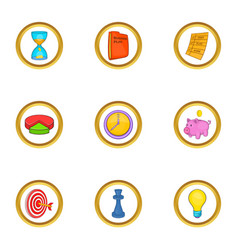 business strategy icon set cartoon style vector image