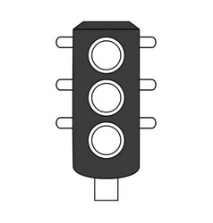 Color silhouette image black traffic light element vector