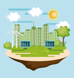 Eco friendly city design vector