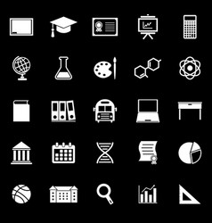 Education icons on black background vector