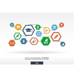 Education network hexagon abstract background vector