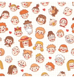 Funny cartoon faces Seamless pattern vector image