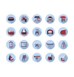Furniture for home flat color icons vector image