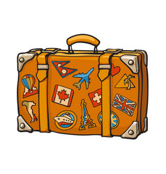 hand drawn retro style travel suitcase with vector image