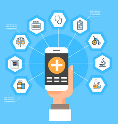 hand hold smart phone with medical application vector image vector image
