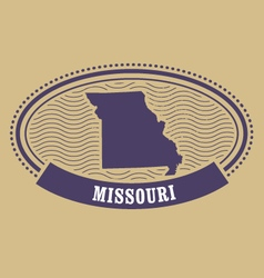 Missouri map silhouette - oval stamp of state vector
