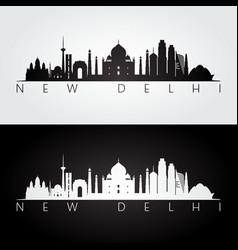 New delhi skyline and landmarks silhouette vector