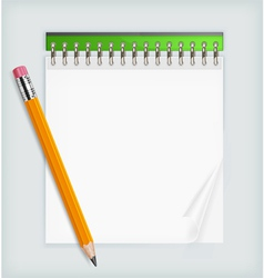 notepad and pencil vector image vector image