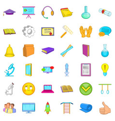 Online learning icons set cartoon style vector