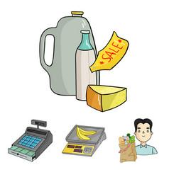 Package scales banana fruit supermarket set vector