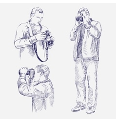 Photographer set - hand drawn llustration vector