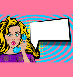 Pop art talk hold hand retro phone cartoon woman vector