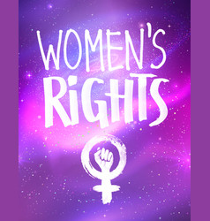 Poster with womens rights lettering vector