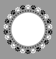 Round frame ornament paw prints pets vector