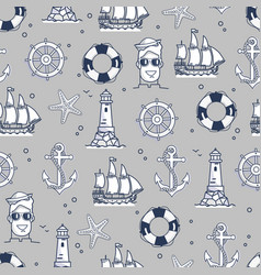 Seamless pattern marine element in black and white vector