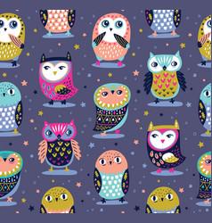 seamless pattern with cartoon owls nursery vector image vector image