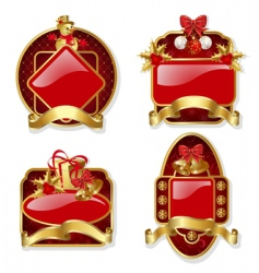 set from red Christmas labels vector image