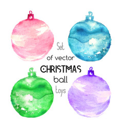 Set of four watercolor christmas ball toys on vector