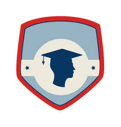Shield and label with silhouette graduate vector