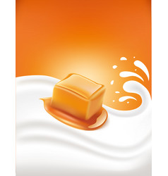Sweet caramel candy on milk splash vector