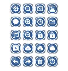 Web icon mega set blue metallic icons with white vector