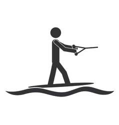 Monochrome silhouette with man water skiing vector