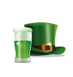 St patrick day green hat glass beer party vector