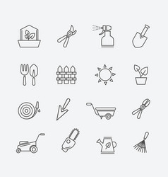 gardening line icons gardener tools and garden vector image