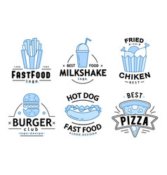 linear flat fast food badge banner or logo emblem vector image