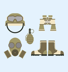 Military weapon ammunition symbols armor set vector