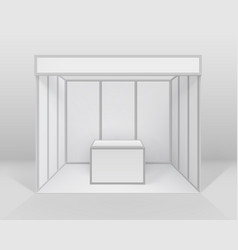 Blank indoor trade exhibition booth with counter vector